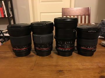 Rent: 4 lens Rokinon set (16,24,35,85)