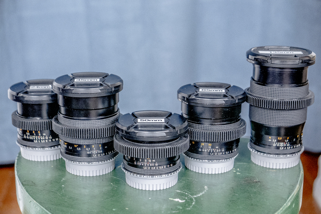 Full Set of Zeiss Contax Primes with Cine Gears and EF Mount