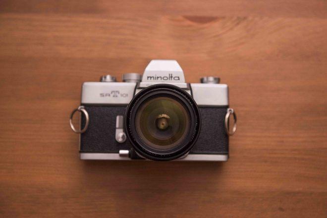 Minolta SR-T 101 film camera with QUANTARAY 28mm f2.8 Prime