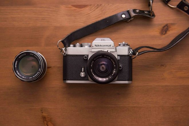 Vintage Nikkormat film camera with Vivitar 35mm f2.8