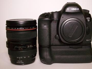 Canon 5D Mark III + Prime Lens (EF 24 - 105) + Battery Pack