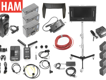 """Rent: 15.6"""" Wireless Director's Monitor, Roller Stand, Gold Mount"""