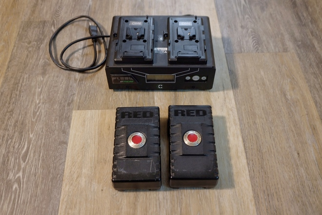 2x Red Batteries with Charger