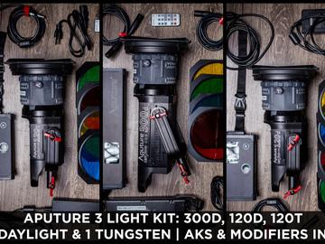 Rent: Aputure 300d + 120D + 120T/D   3 Light Kit + Modifiers & AKS