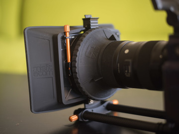 Bright Tangerine Misfit Atom Matte Box with Black Hole Donut