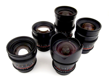 Rent: 5 Rokinon Cine DS Lens Set  14mm to 85mm, EF-E Adapter Inc