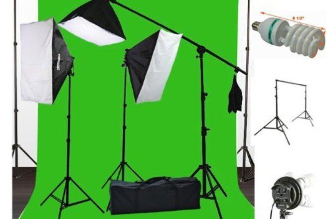 ePhoto 10 x 20 Muslin Chromakey Green Screen Background Supp