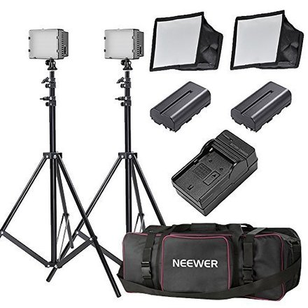Dimmable LED Lighitng Kit w/ Soft Boxes and Gels