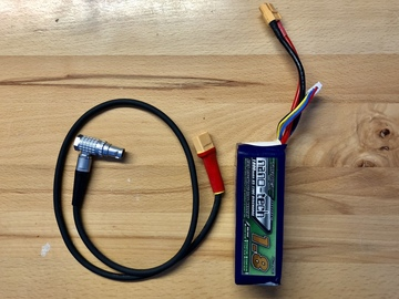 CUSTOM 4 PIN LEMO XT60 POWER CABLE+BATTERY RED EPIC/SCARLET