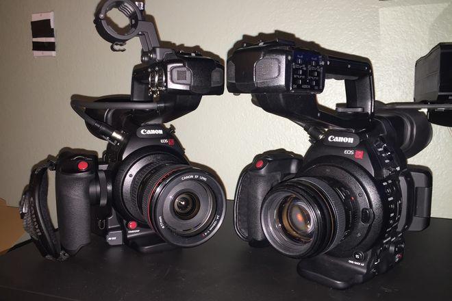 2X Canon EOS C100 Mark II Cinema Cameras w/ 509 tripods