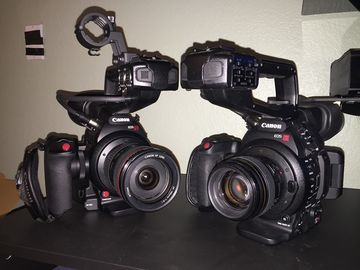 Rent: Dual Canon EOS C100 Mark II Cinema Cameras w/ 509 tripods