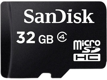 Rent: SanDisk 32GB microSDHC Memory Card Class 4 With SD Adapter