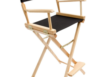 "Rent: Gold Medal 30"" Bar Height Natural Frame Directors Chair"