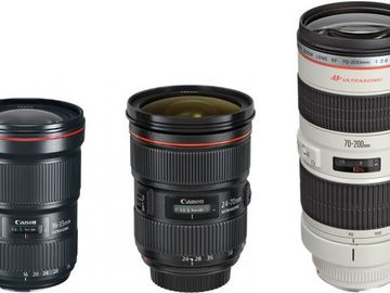 Rent: Canon Zooms bundle 16-35mm I / 24-70mm II / 70-20mm IS f/2.8