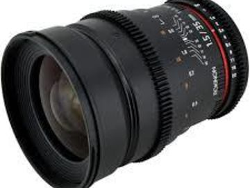 Rent: 35mm Rokinon lens w/ A7s cage Rokinon