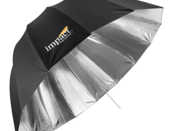"Rent:  Impact Medium Deep Silver Umbrella (41"") with diffuser"