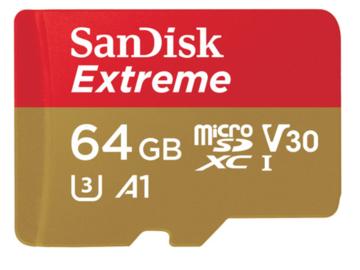 Rent: SanDisk 64GB Extreme UHS-I microSDXC Memory Card