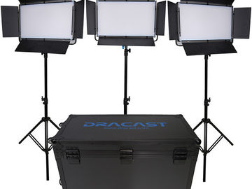 Rent: Dracast LED2000 Bi-Color LED 3-Light Kit w/ Batts + Gels