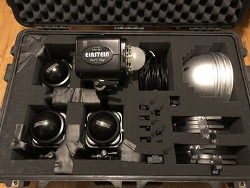 Rent: FOUR Paul C. Buff E640 Einstein Strobes (w/ Modifiers Kit)