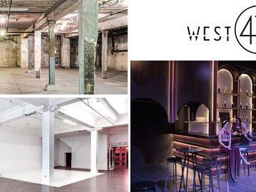 Rent: 12000sf Warehouse w/ArtDeco Bar, Large Cyc, Raw Basement