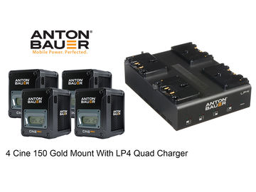 Rent: 4x Anton Bauer Cine 150 GM Gold Mount w LP4 Quad Charger