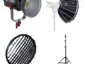 Rent: Aputure 300d + Fresnel Lens, Light Dome Mini, Stand
