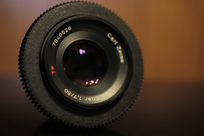 Zeiss Contax 50mm f/1.7 Declicked w/ EF Mount Adapter