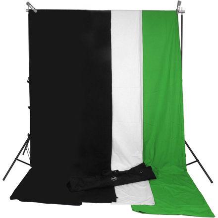 Background Kit (White, Black, Green Backdrops)