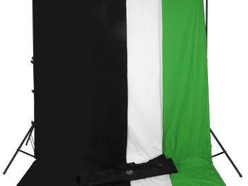 Rent: Background Kit (White, Black, Green Backdrops)