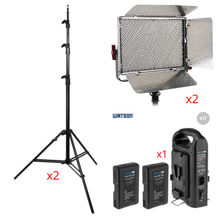 (2) Aputure LS 1c Bi-Color Lights, Stands and Batteries