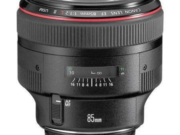 Rent: Canon EF 85mm f1.2L II USM Prime Lens  (L-Series) + FILTERS