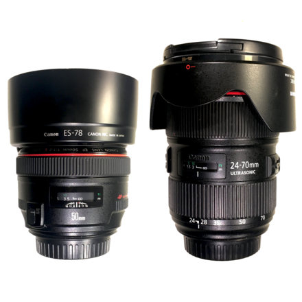 Canon 24-70mm Zoom Lens & Canon 50mm Prime Lens Set