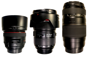 Rent: Canon 50mm Prime, Canon 24-70mm Zoom & Tamron 70-300mm Zoom