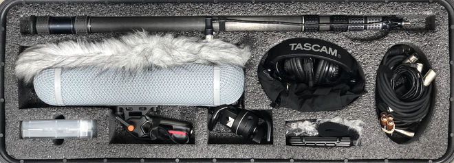 Audio recorder field sound kit, Sennheiser 416/418, Zoom H4n