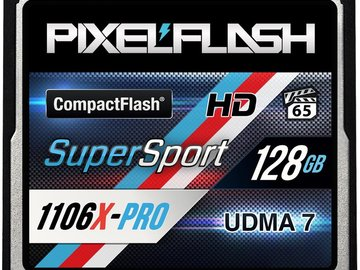 Rent: PIXELFLASH 128GB SUPERSPORT 1106X CF CARD