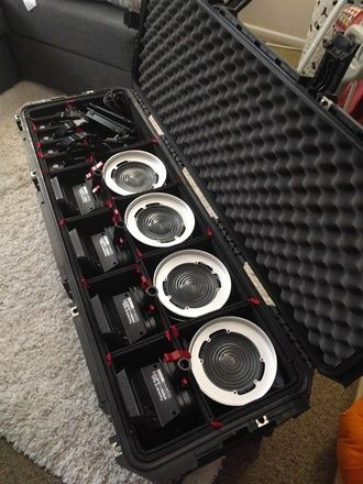 (4) Light Aputure COB 120 Fresnel LED Kit with Case