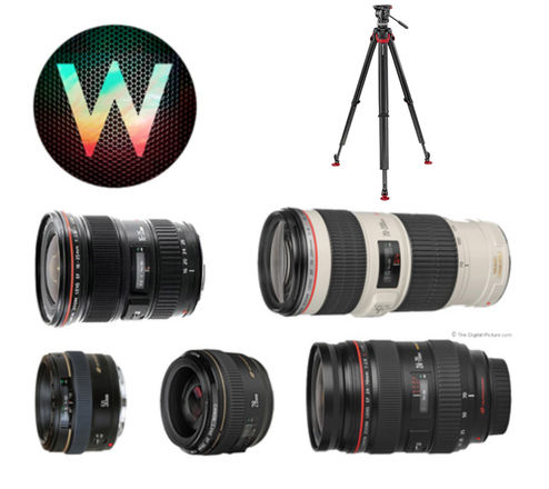 6 Canon Lenses, NDs, Sachtler Ace Tripod.  Perfect for docs.