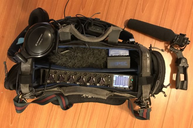 664(6 channel recorder), mkh 416 with boom, and G3 wireless