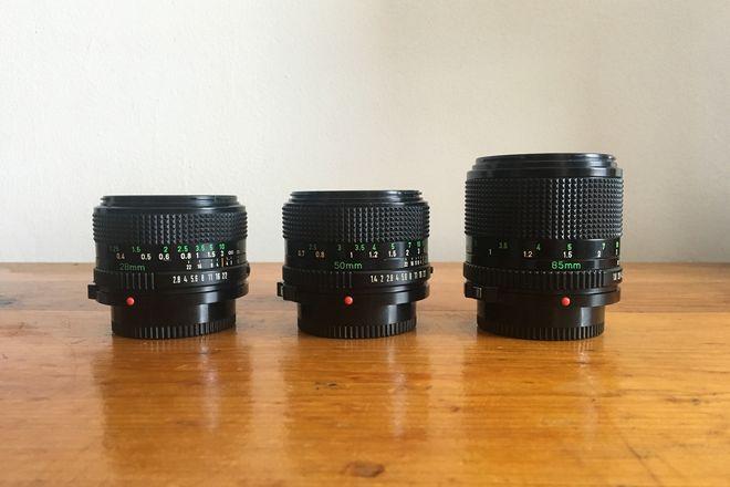Canon FD Lens Set (28mm, 50mm, 85mm) w/ Sony & MFT Adapters