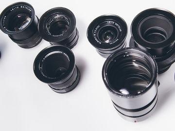 Leica R 7 lens set Kit cinemodded for EF mount - gears