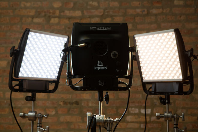 Astra 6x bicolor LED kit (3 lights) with c-stands & sandbags