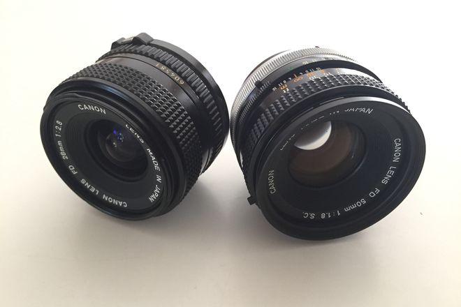 Vintage Canon FD Lens Set 50mm 1.8 & 28mm 2.8  + Sony E M4/3