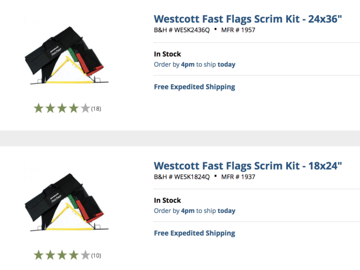 "Rent: Westcott Fast Flags Scrim Kit of 24""x36"" AND 18""x24"""