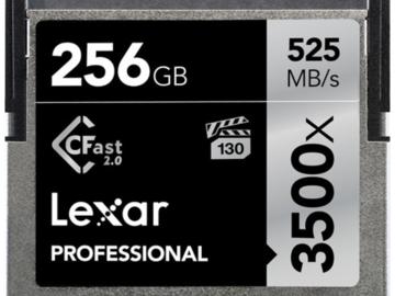 Rent: Set of x2 Lexar Cfast 2.0 256GB 3500x media cards