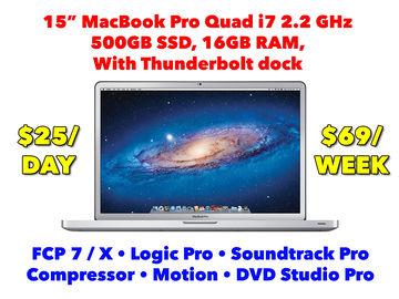 "Rent: Apple MacBook Pro 15"" i7 with Final Cut 7/X, Logic, SSD (D)"