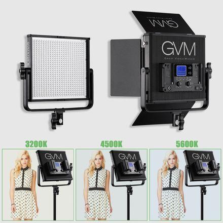 GVM LED Light ( Single Light + stand + Batteries )