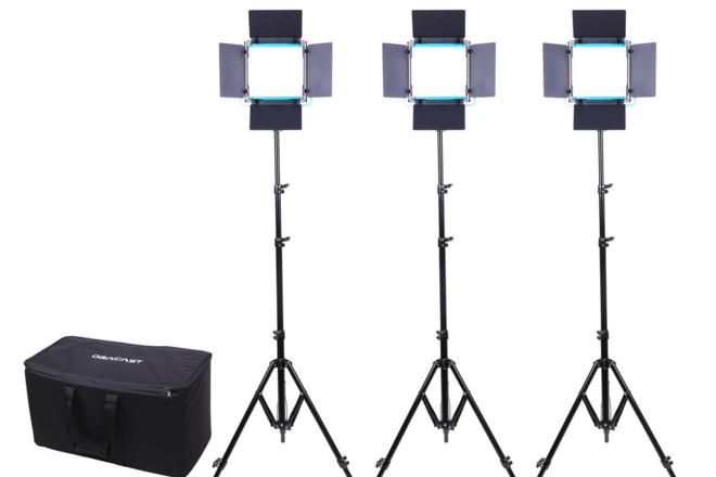3x Dracast LED500 Bi-Color LED Dimmable Lights + Stands