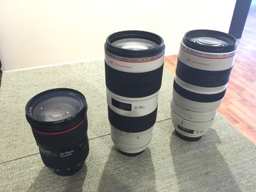 Rent: 3x Canon L-Series II Zooms 24-70 f2.8, 70-200 f2.8, 100-400
