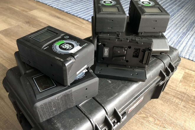 5x Hypercore V-mount 98Wh batts + shark fin + dual charger