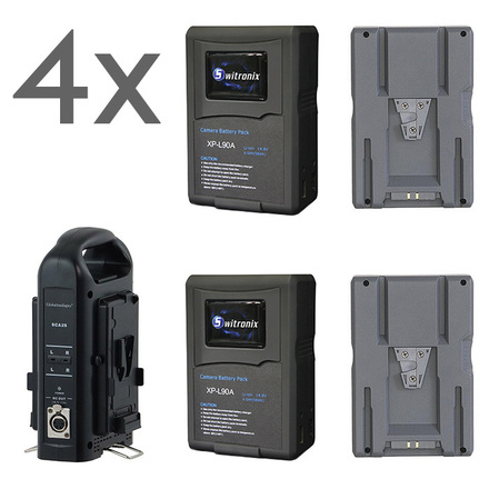 4 V-Mount batteries 98Wh & Charger - Made for air travel